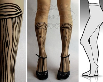 S/M sexy Wooden Legs tattoo tights / stockings/ full length / pantyhose / nylons cafe latte