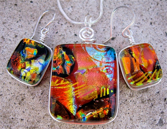Dichroic Glass Matching Pendant and Earring Set .. Stunning Wire-wrapped Multilayered Dichroic