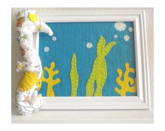 Under the Sea - Framed Felt Colorful Underwater Scene - Nursery or Childs Room Decor