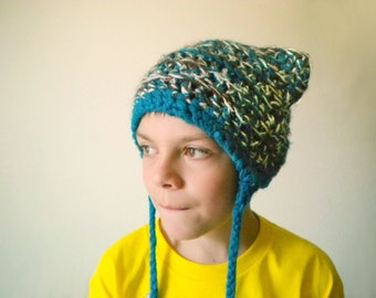 Crochet Hat - Cat Hat in Teal, Cocoa Brown, and White with Long Braids and Ears - Crochet Hat for Baby / Toddler / Boy / Girl / Man / Woman