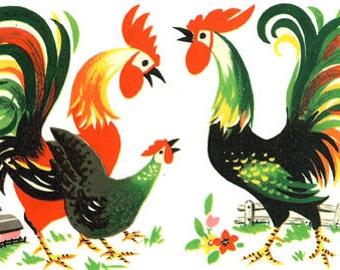 Vintage Roosters Cross Stitch Pattern PDF