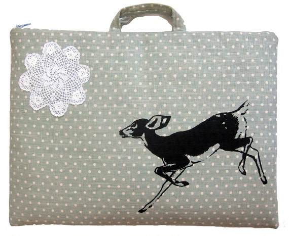 Laptop Bag Laptop Case Deer Fawn on Aqua Seafoam Polka Dot Print Linen