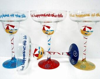 Beach Margarita Glass set -  hand painted adirondack chair glasses