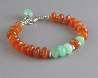 Carnelian Chrysoprase Bracelet Sterling Silver Bead Gemstone DJStrang Boho Cottage Chic Fiery Orange Green Stone