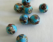 SALE 10 10mm Handmade Cloisonne Beads Gold Plated Round Flower Blue