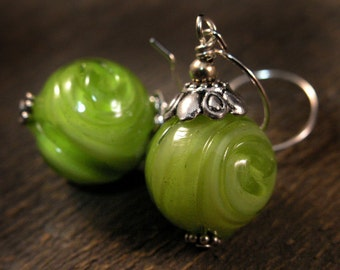 Lime green glass bead and silver earrings