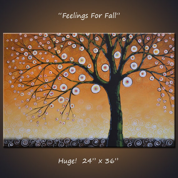 """Art 36"""" Original Large Abstract Painting Modern Contemporary Trees ... 24 x 36 .. Feelings for Fall, Living Room Art"""