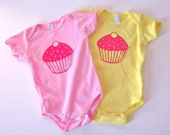 Cupcake Baby One-Piece in Pink or Yellow