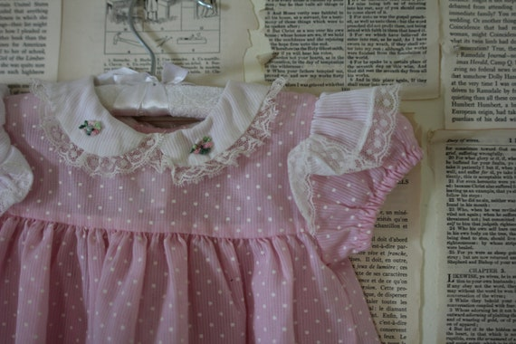 Vintage Pink Newborn Baby Dress - Retro Girls Pink Swiss Dot Dress - Vintage Flower Girl Dress - Baby Clothes Clothing - Baby Shower Gift