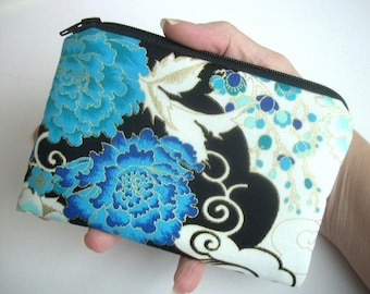 Asian Blue Zipper Pouch Padded ECO Friendly Little Coin Purse Gadget Case - LIMITED