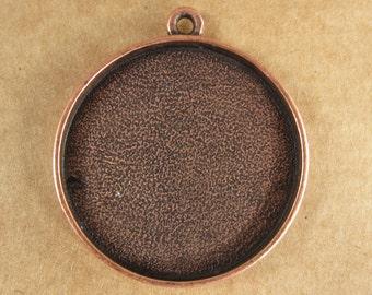 Large Circle Bezel Frame Tray Copper Finish for Pendants