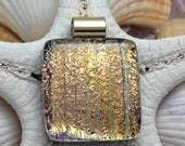 Golden Delight Dicrhoic Fused Glass Pendant Necklace Jewelry B1 P10