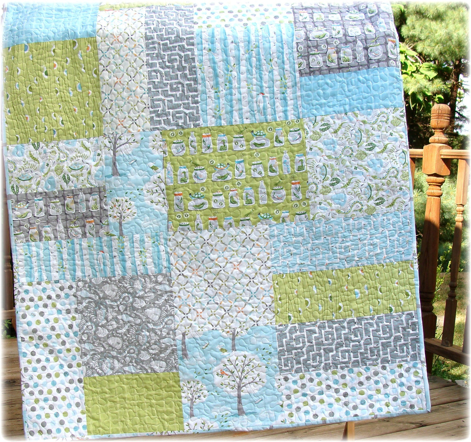 Baby boy quilt backyard baby fabrics modern big block for Boy quilt fabric