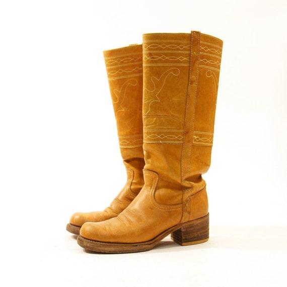 70s frye campus boots brown leather men s sz 7 5 women s sz 9