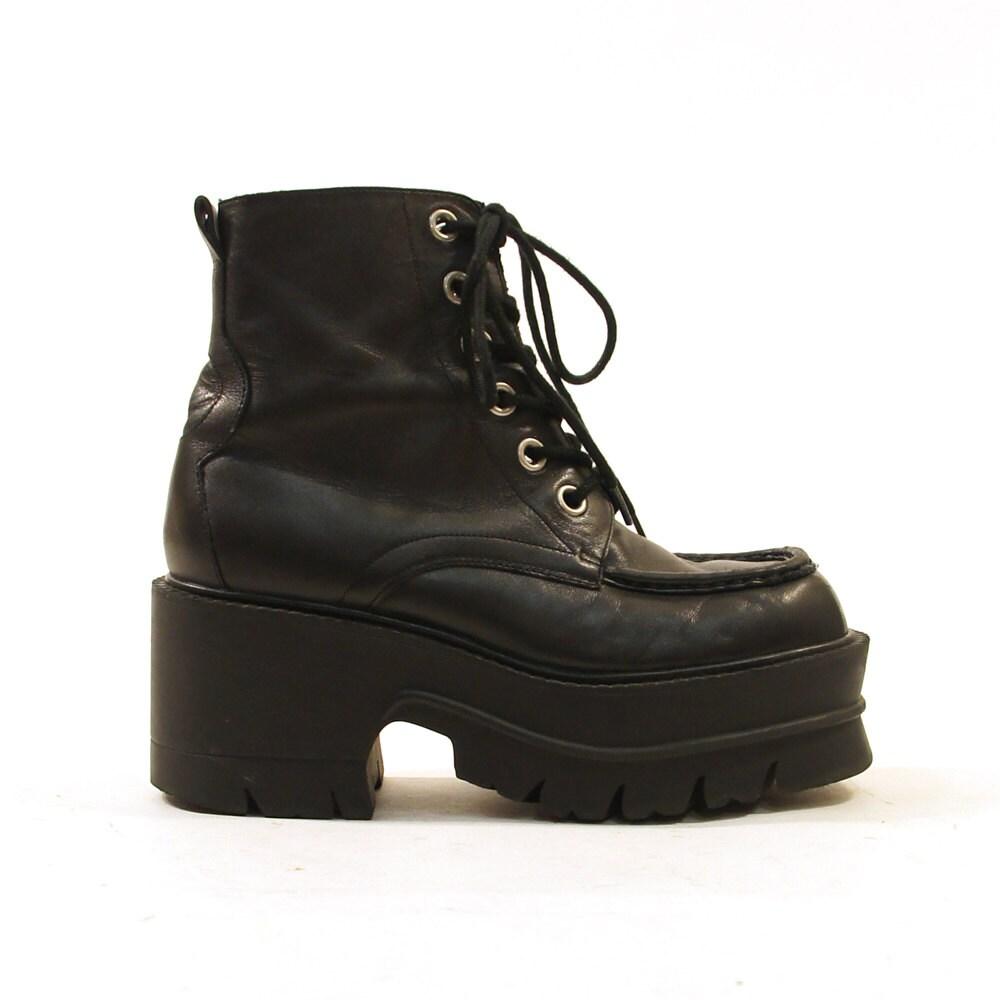nine west platform lace up ankle boots black leather