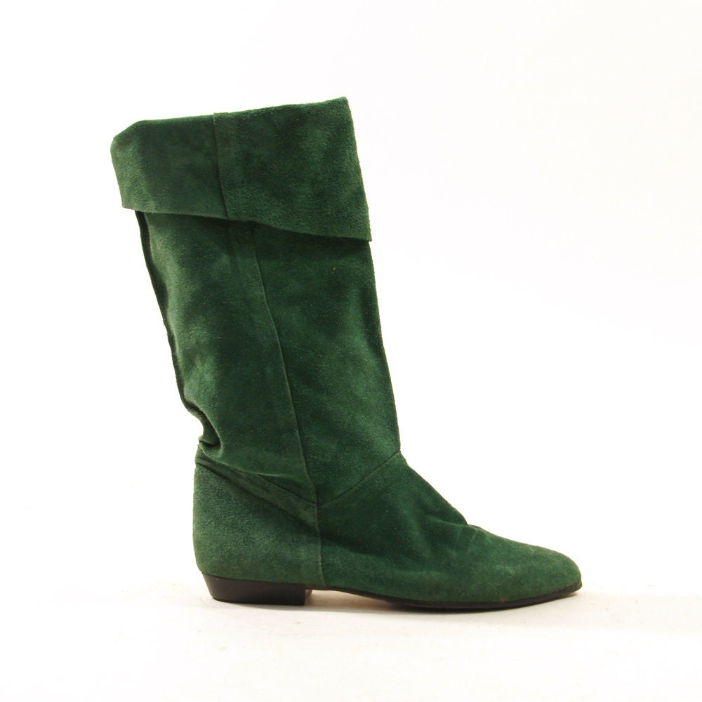 80s suede pirate boots slouchy green sz 6