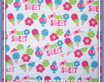 "7/8"" Summer Fun M2MG Ice Cream Sweetie Grosgrain Ribbon-5 yards-MTM-MTMG-Cones-Flowers"