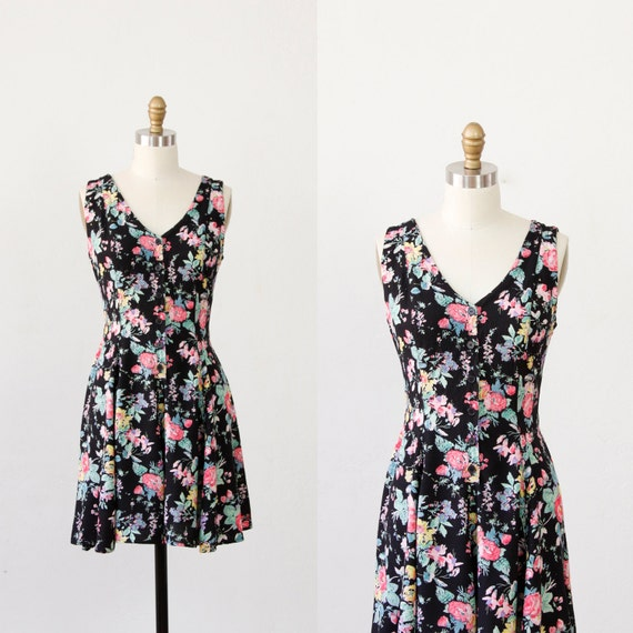 Black Rayon Floral Print Mini Dress