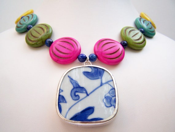 Colorful Statement Necklace - Pottery Shard Necklace - Colores - Multicolor Beads with Blue & White Ming Porcelain Pendant - Hot Pink