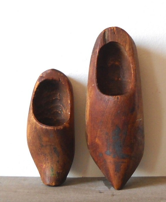 2 Vintage Wooden Dutch Shoes, Childs, Carved, Rustic Primitive Display