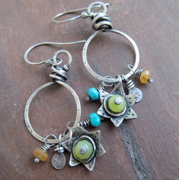 Wire Wrapped Silver Hoop Earrings Turquoise Flower Charms Dangling earrings green yellow gemstone