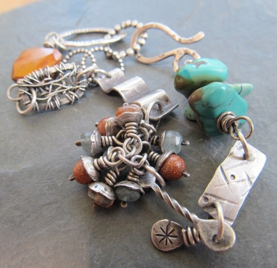 Wire wrapped Silver Bracelet Sterling stamped Patchwork Mixed Elements