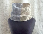 Half & Half Cowl - Knit Luxury Cowl - Dove Grey and Tan