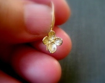 Gold Forget Me Not Earrings - short