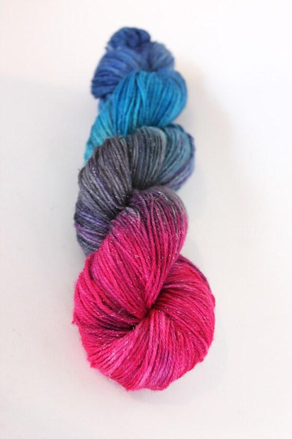 SUMMER SALE Glamor Girl hand dyed on silver sock yarn
