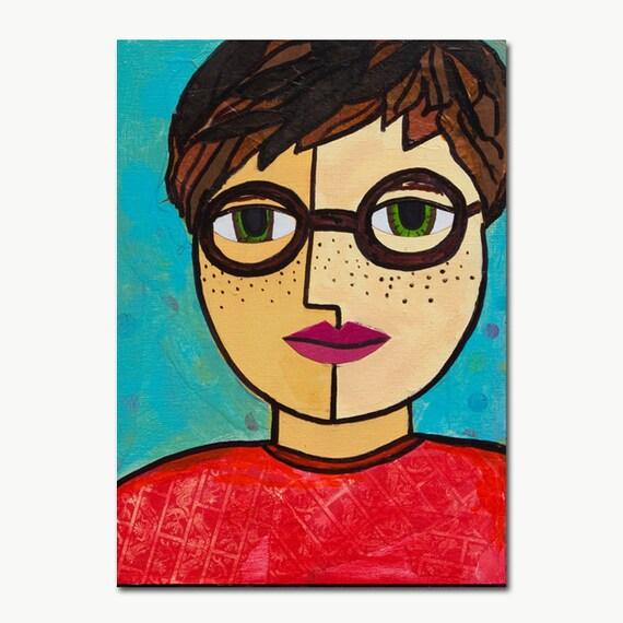 Boy with Freckles Art Print - Boy Art, Son Art, Nursery Art, Child Art, Childrens Room, giclee mixed media collage, wall art decor