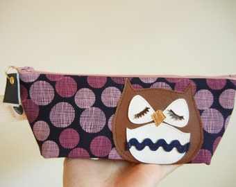 Brown Stewart the Owl Spring Navy Pink Polka Dot Cotton Canvas Case with Vinyl Applique