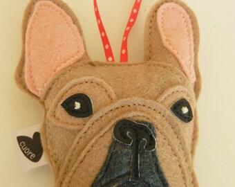 Nuri the French Bulldog Wool Felt Applique Decorative Holiday Christmas Ornament