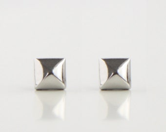 Shiny Silver Geometric Pyramid Metal Stud Earrings. Surgical Steel Earrings Post. Gift for Her