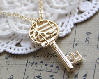 Musical Key Necklace. Open your heart to music. Gold Charm Necklace.  Gift for Her. Music Lover, Music Teacher. Piano Teacher.