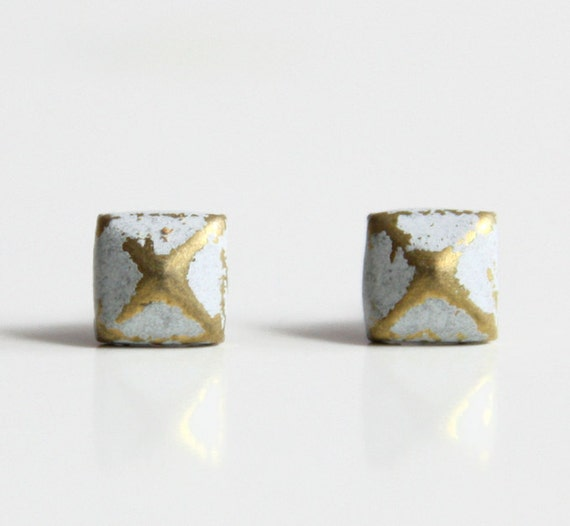 White Patina Verdigris Geometric Pyramid Metal Stud Earrings. Surgical Steel Earrings Post. Gift for Her