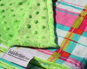 Minky Blanket - Baby Girl Blanket - Bright Colors Blanket - Personalized with a Name