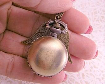 Steampunk Brass Golden Snitch Pocket Watch with 30 Inch Brass Chain