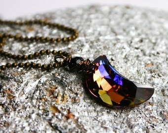 Purple Moon Necklace Rare Celestial Autumn Swarovski Crystal Crescent Wrapped Antiqued Brass Women's Jewelry Warm Fall Tones Halloween Star