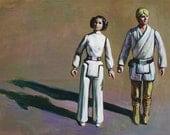 Vintage Star Wars Luke and Leia Action Figures Print of Original Painting 8x10