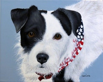 Custom Hand Painted Pet Portrait 8 x 10 Pet Painting Your Pet any Animal Dog Cat Horse Art by Sharon Lamb