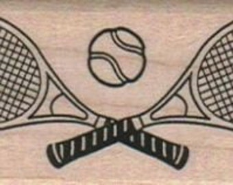 Rubber stamp Tennis racket and ball wood Mounted scrapbooking supplies number 10824