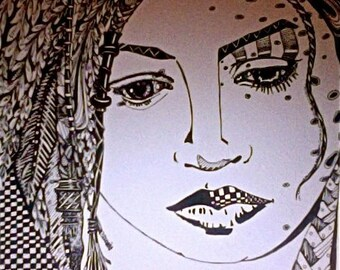 Price Reduced for Holidays!adult coloring page Illustration woman face black & white Art Print by Mary Lozinak srajd zentangle 14X10