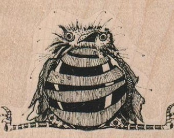 rubber  stamp  bird sitting   steampunk zentangle  wood mounted, unmounted or cling stamp   original design by Mary Vogel Lozinak no 18889