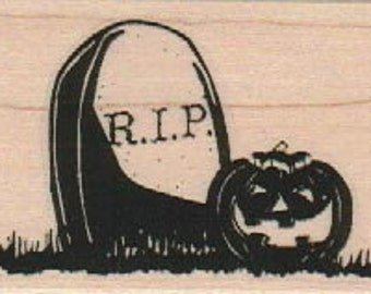 Halloween rubber stamps grave stone jack o lantern pumpkin  rubber stamps   wood mounted 18897