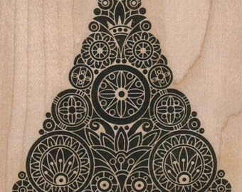 Rubber stamp Steampunk Christmas Tree  cling stamp, unmounted or wood mounted rubber stamp Stamp   Rubber Stamp  12702