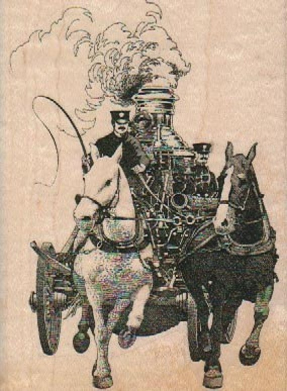 Rubber stamp Victorian  vintage fire engine horse carriage Steampunk wood Mounted  scrapbooking supplies 18146