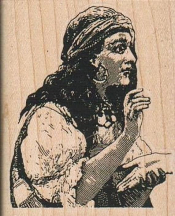 Rubber stamp  woman Fortune Teller Palm Reader Wood Mounted  scrapbooking supplies number 2627