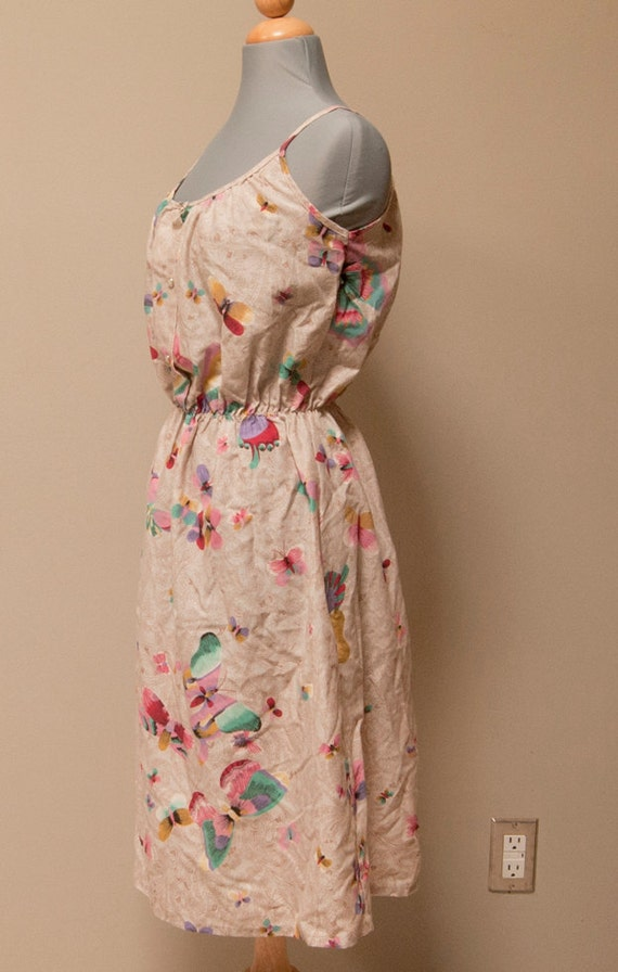 Vintage 80s Butterfly Summer Dress