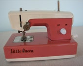 Pink and Cream Metal Vintage Sewing Machine Little Queen  Crystal made in Japan 50% off sale