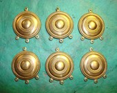 Round Etched Puffed Brass Earring Finding
